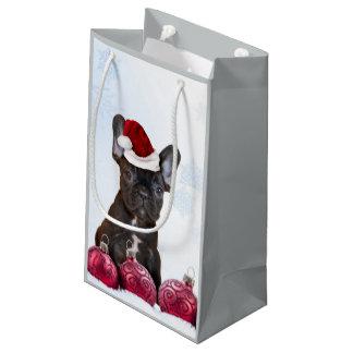 Bolso del regalo del dogo francés del navidad bolsa de regalo pequeña
