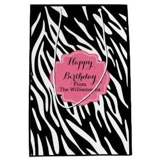 Bolso del regalo del estampado de zebra del feliz bolsa de regalo mediana