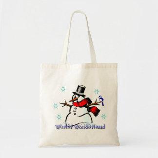 Bolso del regalo del muñeco de nieve del país de bolsa tela barata