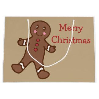 Bolso del regalo del navidad del pan de jengibre bolsa de regalo grande