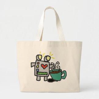 Bolso del robot y de café bolsa de tela grande