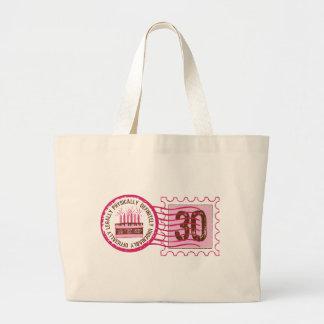 Bolso del sello 30 del cumpleaños bolsa tela grande