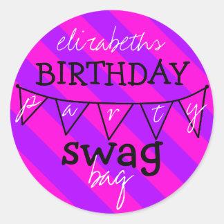Bolso del Swag de la fiesta de cumpleaños Pegatina Redonda
