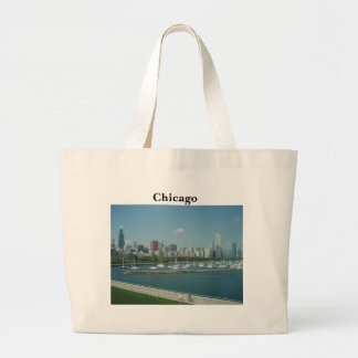Bolso del tote del horizonte de Chicago Bolsa Tela Grande