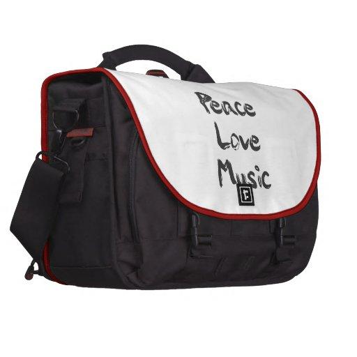 Bolso del viajero de la música del amor de la paz bolsas de portátil