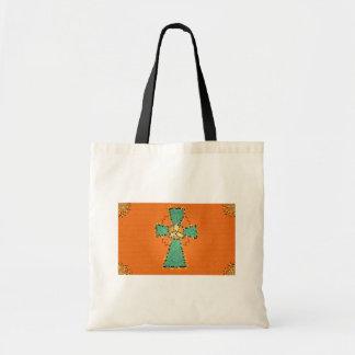 Bolso del vitral de la cruz céltica bolsa tela barata