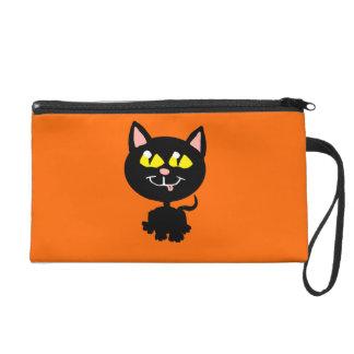 Bolso del wristlette del gato negro de Kawaii