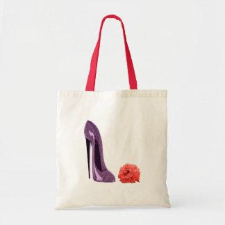 Bolso del zapato del estilete del rosa rojo y de l bolsa tela barata