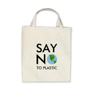 Bolso Diga NO al plástico - tierra del planeta Bolsas Lienzo