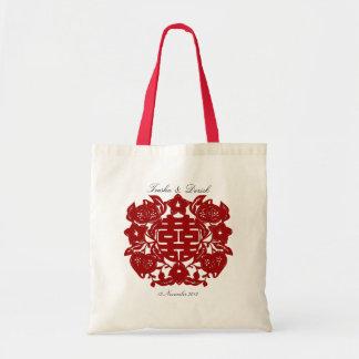 Bolso doble rojo chino del boda de la felicidad bolsa tela barata