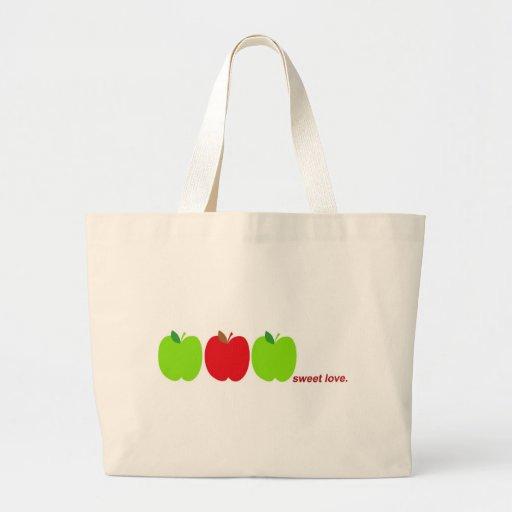bolso dulce de las manzanas de amor bolsa tela grande