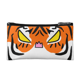 Bolso enojado del cosmético del tigre