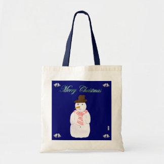Bolso feliz del muñeco de nieve bolsa tela barata