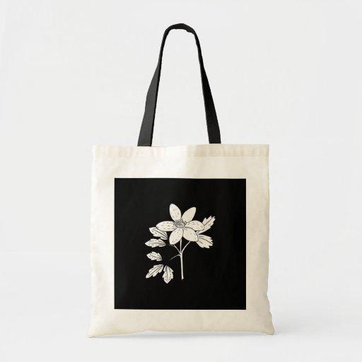 Bolso-Flor-Negro y blanco 8 Bolsa De Mano