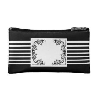 Bolso floral blanco y negro del cosmético de las r