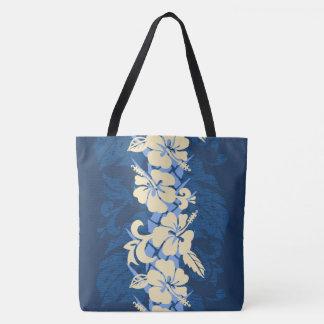 Bolso floral de la playa del hibisco hawaiano de bolsa de tela
