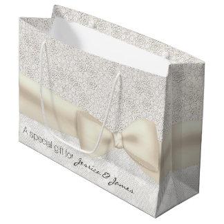 Bolso floral de marfil antiguo del regalo de boda bolsa de regalo grande