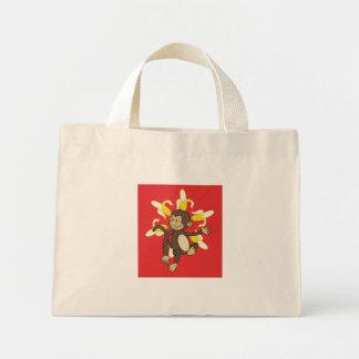 Bolso floral del mono de la flor del plátano bolsa tela pequeña