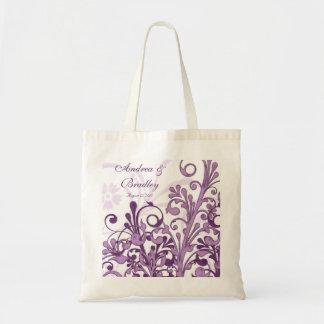 Bolso floral púrpura de la recepción del boda bolsa tela barata