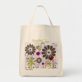 Bolso florecido retro verde que hace compras bolsa tela para la compra