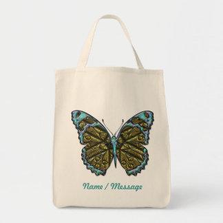 Bolso grabado de la mariposa 3 bolsa tela para la compra