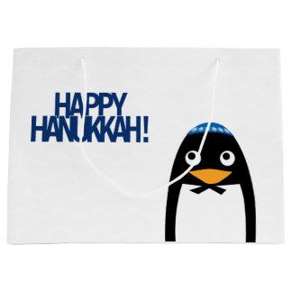Bolso grande del regalo del pingüino judío feliz bolsa de regalo grande