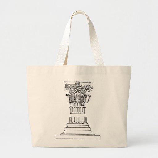 Bolso griego de la columna bolsa tela grande