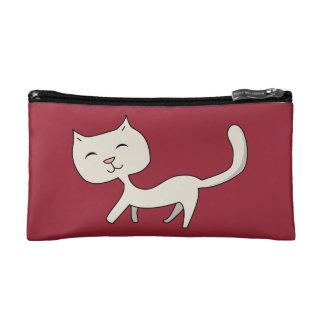 Bolso gris flaco lindo del cosmético del gatito