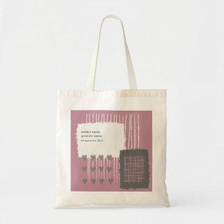 Bolso gris y rosado de la paloma de boda del bolsa tela barata