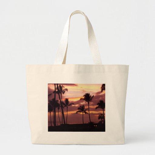 Bolso hawaiano rosado de la puesta del sol bolsa tela grande