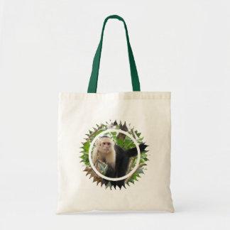 Bolso hecho frente blanco del mono de Capuccin peq Bolsa De Mano