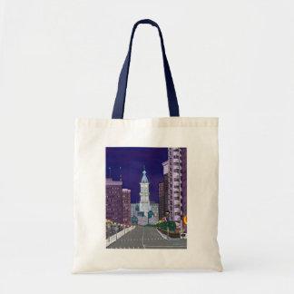Bolso illuminado de la ciudad bolsa tela barata