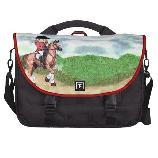 Bolso inglés del chica del montar a caballo bolsas para portátil