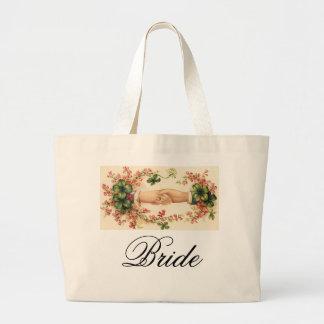 Bolso irlandés romántico de las novias bolsa tela grande