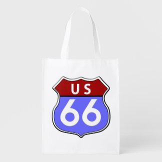 Bolso legendario de la ruta 66 de los E.E.U.U. Bolsa Reutilizable
