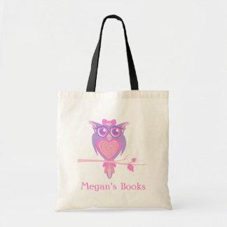 Bolso lindo de la biblioteca de los chicas del búh bolsa