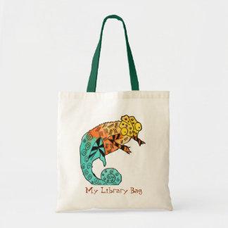 Bolso lindo de la biblioteca de los niños de la ti bolsas lienzo