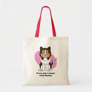 Bolso lindo de Sheltie del perro del dibujo animad Bolsa Tela Barata