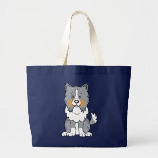 Bolso lindo de Sheltie del perro del dibujo animad Bolsa Tela Grande