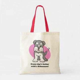 Bolso lindo del Schnauzer del perro del dibujo ani Bolsa Tela Barata