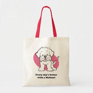 Bolso maltés del perro lindo del dibujo animado bolsa tela barata