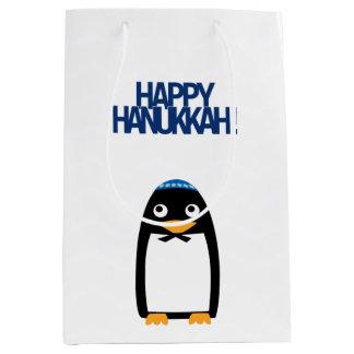 Bolso medio del regalo del pingüino judío feliz bolsa de regalo mediana