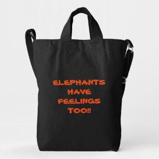 Bolso/mochila de las Ele-Compras con el mensaje Bolsa De Lona Duck