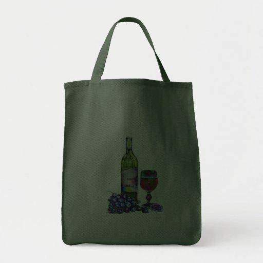 Bolso moderno del arte del vino y de las uvas bolsa tela para la compra