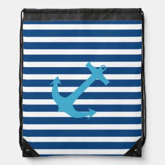 Bolso náutico de la cincha del ancla de los azules mochilas
