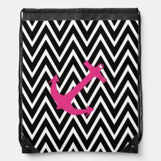 Bolso náutico rosado de moda de la cincha del ancl mochilas