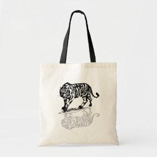 Bolso negro de las reflexiones del tigre bolsa de mano