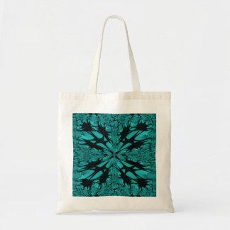 Bolso negro del arte del fractal de la aguamarina bolsa tela barata