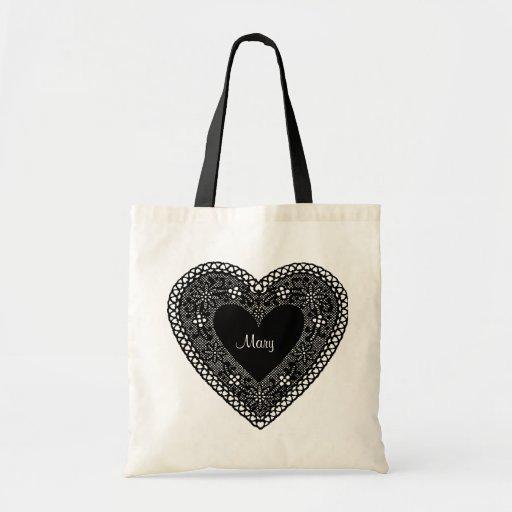 Bolso negro del corazón del cordón del vintage bolsa de mano