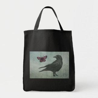 Bolso negro del cuervo y de la mariposa bolsa tela para la compra